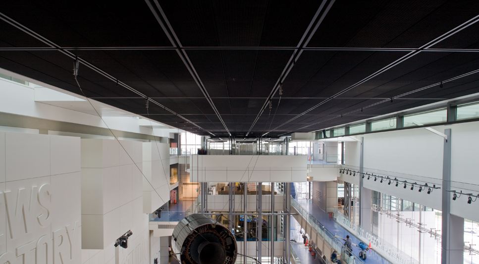 the newseum a museum of news in washington dc features square feet of black squareline ultra metal ceiling tiles from pinta acoustic inc - Metal Ceiling Tiles